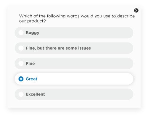 Product feedback surveys